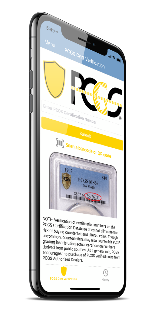 PCGS Certification Verification App