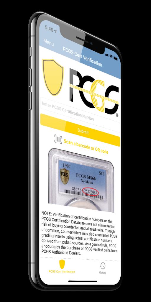 PCGS Certification Verification App